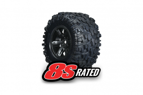 TRAXXAS запчасти Tires & wheels, assembled, glued (X-Maxx black wheels, Maxx AT tires, foam inserts) left & right