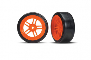 "TRAXXAS запчасти Tires and wheels, assembled, glued (split-spoke orange wheels, 1.9"" Drift tires) (front)"