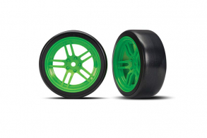 """TRAXXAS запчасти Tires and wheels, assembled, glued (split-spoke green wheels, 1.9"""" Drift tires) (front)"""