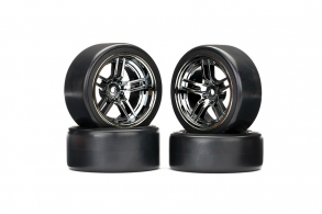 """TRAXXAS запчасти Tires and wheels, assembled, glued (split-spoke black wheels, 1.9"""" Drift tires) (front and rear)"""