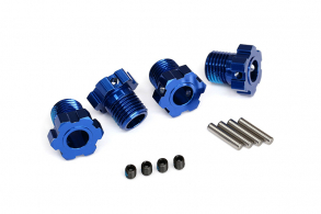 TRAXXAS запчасти Wheel hubs, splined, 17mm (blue-anodized) (4)