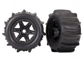 "TRAXXAS запчасти Tires & wheels, assembled, glued (black 3.8"" wheels, paddle tires, foam inserts) (2) (TSM rated)"