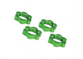 TRAXXAS запчасти Wheel nuts, splined, 17mm, serrated (green-anodized) (4)
