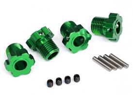 TRAXXAS запчасти Wheel hubs, splined, 17mm (green-anodized) (4): 4x5 GS (4), 3x14mm pin (4)