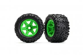 TRAXXAS запчасти Tires & wheels, assembled, glued (green wheels, Talon EXT tires, foam inserts)