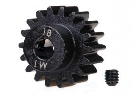 TRAXXAS запчасти Gear, 18-T pinion (machined) (1.0 metric pitch) (fits 5mm shaft): set screw (compatible with steel s