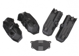 TRAXXAS запчасти Fenders, inner (narrow), front & rear (2 each): rock light covers (8): battery plate: 3x8 flat-h