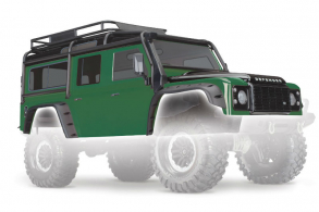 TRAXXAS запчасти Body, Land Rover Defender, green (complete with ExoCage, inner fenders, fuel canisters, and jack)