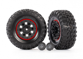 "TRAXXAS запчасти  Tires and wheels, assembled, glued (2.2"" black Mercedes-Benz® G 63® wheels, Canyon RT 4.6x2.2"" tires) (2)/ center caps (2)/ beadlock rings (2) (requires #8255A extended stub axle)"