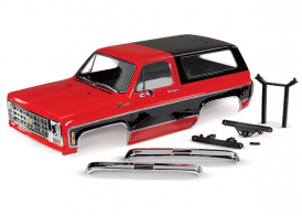 TRAXXAS запчасти Body, Chevrolet Blazer (1979), complete (red) (includes grille, side mirrors, door handles, windshield wipers, front & rear bumpers, decals)
