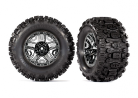 "TRAXXAS запчасти Tires & wheels, assembled, glued (black chrome 2.8"" wheels, Sledgehammer™ tires, foam inserts) (2) (TSM® rated)"