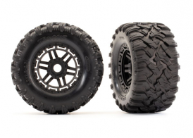 TRAXXAS запчасти Tires & wheels, assembled, glued (black wheels, Maxx® All-Terrain tires, foam inserts) (2) (17mm splined) (TSM® rated)