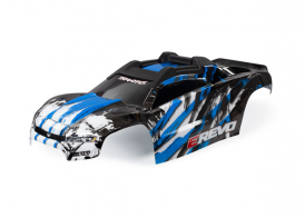 TRAXXAS запчасти  Body, E-Revo, blue/ window, grille, lights decal sheet (assembled with front & rear body mounts and rear body support for clipless mounting)