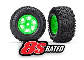 TRAXXAS запчасти Tires & wheels, assembled, glued (X-Maxx® green wheels, Maxx® AT tires, foam inserts) (left & right) (2)